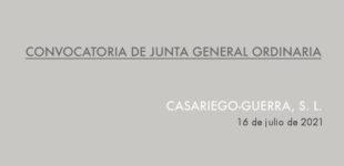 [Convocatoria] JUNTA GENERAL ORDINARIA. CG, SL